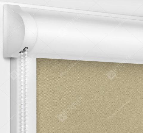 Рулонные кассетные шторы УНИ - Респект блэкаут темно-бежевый