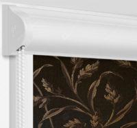 Рулонные кассетные шторы УНИ - Баски димаут коричневый на пластиковые окна
