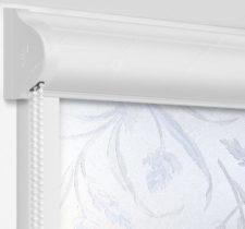 Рулонные кассетные шторы УНИ - Баски димаут морозно-голубой на пластиковые окна