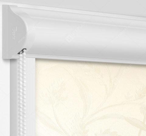 Рулонные кассетные шторы УНИ - Баски димаут ванильный на пластиковые окна