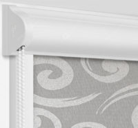 Рулонные кассетные шторы УНИ - Сейшелы серый на пластиковые окна